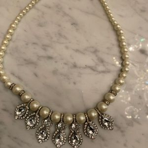 Beautiful Pearl Necklace with Crystal - $15